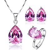 BONLAVIE 925 Sterling Silver Pear Created Pink Topaz Stud Earrings Solitaire Ring Pendant Necklace Jewelry Set, Size 7