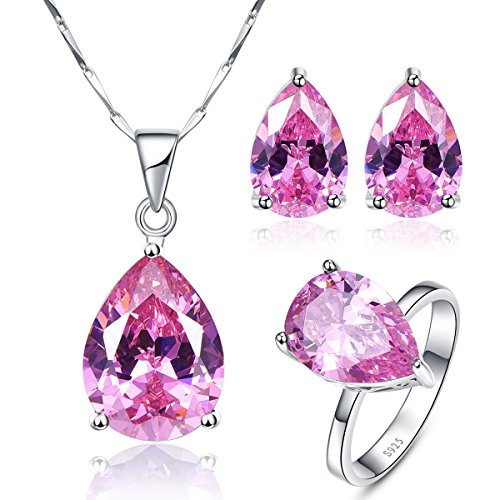 Topaz Pink & Earrings Garnet (BONLAVIE 925 Sterling Silver Pear Created Pink Topaz Stud Earrings Solitaire Ring Pendant Necklace Jewelry Set, Size 7)