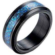 JAJAFOOK Men's 8mm Blue Carbon Fiber Black Celtic Dragon Titanium Steel Spinner Ring Wedding Spins Band