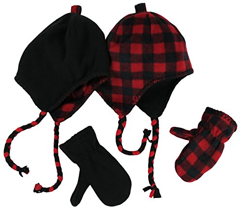 nice-caps-little-kids-and-infants-reversible-hat-and-mittens-fleece-skater-set-3-6-years-black-solid