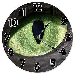 Large 10.5 Wall Clock Decorative Round Wall Clock Home Decor Novelty Clock GREEN EYED CAT