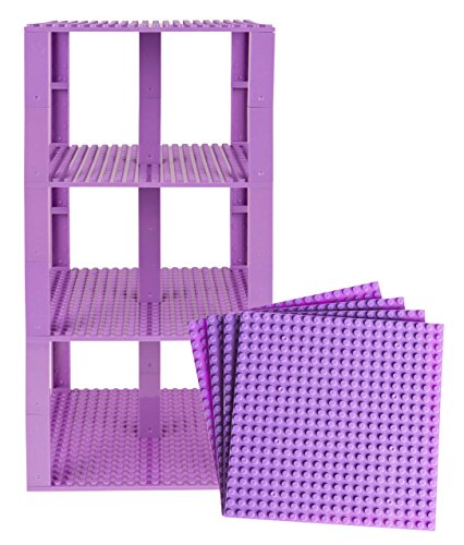 "Free Premium Lavender Stackable Base Plates - 4 Pack 6"" x 6"" Baseplate Bundle with 30 Lavender Bonus Building Bricks- Compatible with All Major Brands - Tower Construction"