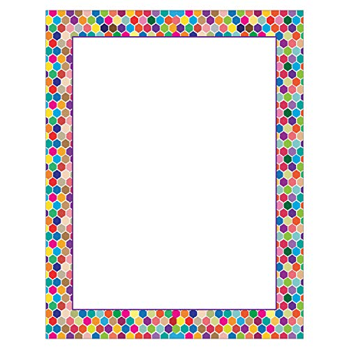 Colorful Border Stationery - 8.5 x 11-60 Letterhead Sheets - Border Paper Letterhead (Spot Colorful Border)