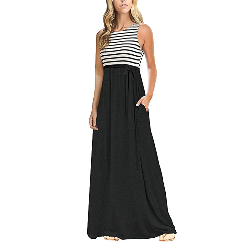 Fanyunhan Sexy Womens Stripe Sleeveless Long Dress O Neck Casual Beach Maxi Dress with Pocket Black