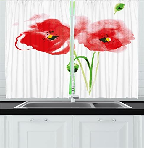 Ambesonne Floral Kitchen Curtains, Poppy Flowers Romantic Spring Summer Garden Plant Watercolor Image, Window Drapes 2 Panel Set for Kitchen Cafe Decor, 55 X 39 , Red Pale Green and Black