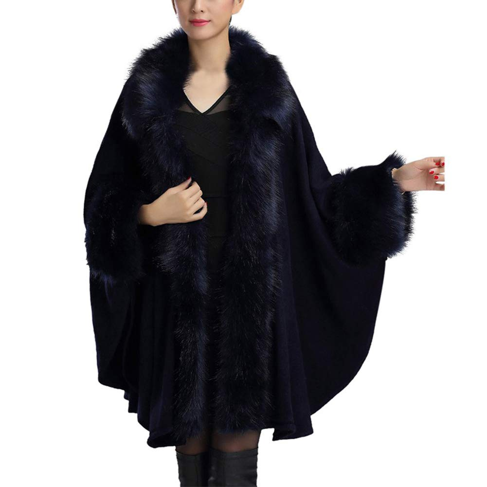 Froomer Women's Large Size Knit Fur Shawl Cape Cloak Jacket Blue by Froomer