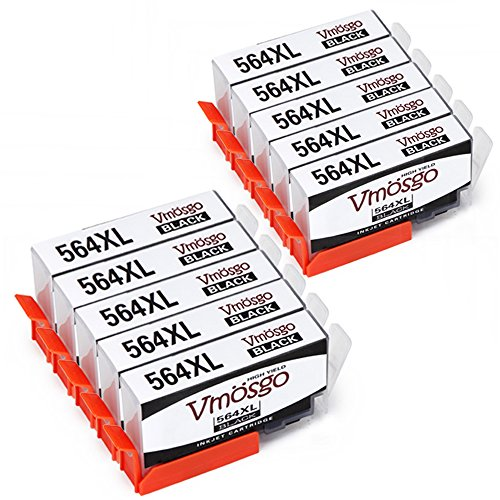 Vmosgo Compatible with HP 564XL Ink Cartridge High Yield, 10 Black, Work with HP Photosmart 6520 5520 7510 7525 Officejet 4620 Deskjet 3520 Printers (10 Black) ()
