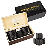 Image of Whiskey Stones Glasses Gift Set - 8 Granite Chilling Whisky Rocks + 2 Crystal Tumblers + Cotton Bag in Wooden Box – Reusable Ice Cubes by Cumbreca