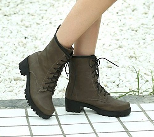 Carolbar Western Mid up Lace Biker Unisex Boots Brown Women's Short Heel rqTRrfw