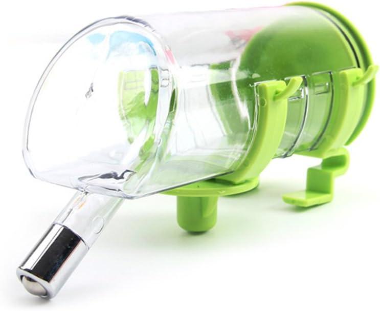 Ecloud Shop® 350ML Pet Colgando Bebiendo Fuente Botella de Agua Durable Bebedor con Cabeza de Acero Inoxidable no tóxico plástico Facilidad de Limpieza Verde