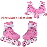 Leoneva 2 in 1 Mode Switchable Skates for Kids, Children Adjustable Size Training Inline Skate, Double Row Roller Skate with PU Wheel and Velvet Lining (Pink-2, US Size 12J-2)
