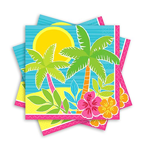 Amscan Sun-Sational Summer Luau Party Beach Scene Luncheon Napkins (Pack of 125), Multicolor, 65'' x 65''