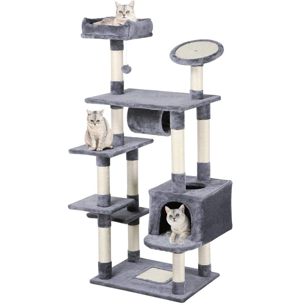 Yaheetech 62-inch Cat Tree Condo with Scratching Post Plush Perch and Tunnel, Cat Tower Furniture Gray