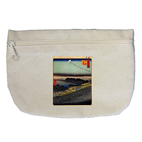 Nihonbashi Bridge (Hiroshige) Canvas Makeup Bag Zippered (Nihonbashi Bridge)