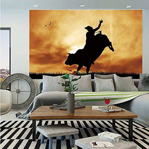 Western Wall Mural,Bull Rider Silhouette at Sunset Dramatic Sky Rural Countryside Landscape Rodeo Decorative,Self-Adhesive Large Wallpaper for Home Decor 55x78 inches,Amber Black