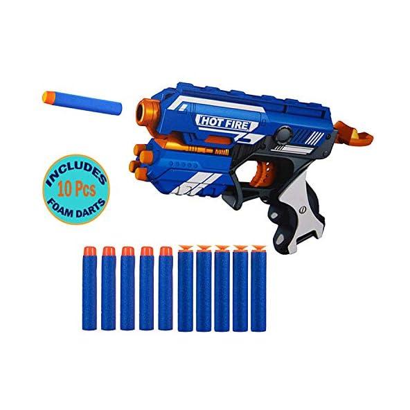 Wishkey Blaze Storm Manual Soft Bullet Gun Toy with 10 Safe Foam Bullets for Kids (Multicolour)