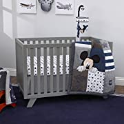 Disney Mickey Mouse 4 Piece Hello World Denim/Star/Icon Nursery Crib Bedding Set, Navy, Grey, White