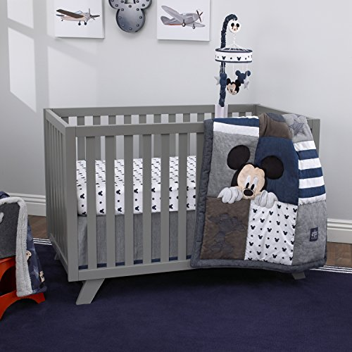 Disney Mickey Mouse 4 Piece Hello World Denim/Star/Icon Nursery Crib Bedding Set, Navy, Grey, White - Denim Baby Bedding