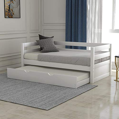 FLIEKS Solid Wood Frame Twin Daybed with Pull Out Trundle, Captains Bed Twin Bed Frame for Kids, White
