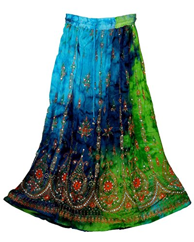 - Radhy krishna fashions Multi tie dye Yoga Trendz Women's Sequined Crinkle Broomstick Gypsy Long Skirt (Green Multi)