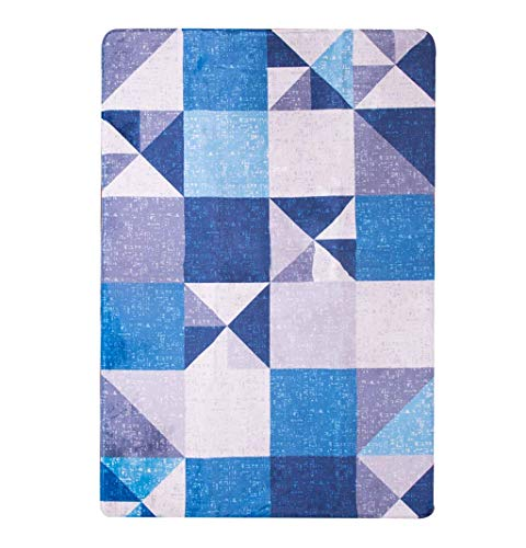 ZTMN Fashion Area Rugs and Living Room Mat Designer Rug Nordic Modern Simple Living Room Coffee Table Bedroom Bedside Carpet Home Rectangular Mat Blue Plaid Swivel Chair pad (Size : 120 180cm) (Chair Swivel Plaid)