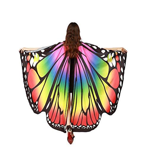 Adult Costume Angel Accessory (MEIQING Women's Butterfly Wings Swimsuit Bikini Beach Cover Ups Angel Wings Adult Costume Accessory (Rainbow))
