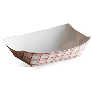 Disposable Paper Food Tray 3Lb Heavy Duty, Grease Resistant 50 Pack. Durable, Coated Paper Food Basket for Fairs, Concession Stands & Food Trucks. Holds Treats Like Hot Dogs, Fries, Nachos and Tacos!