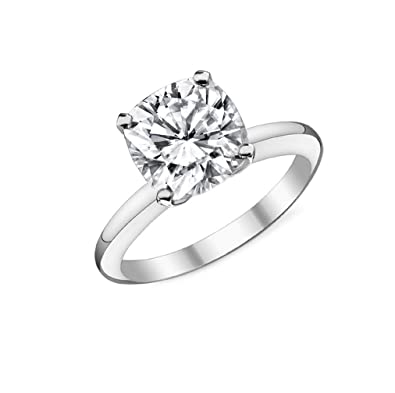 7135d29c2eb97d Eternal Jewelry Solid 14K White Gold CZ Cubic Zirconia Engagement Ring 4  Prong 2 Carat Cushion