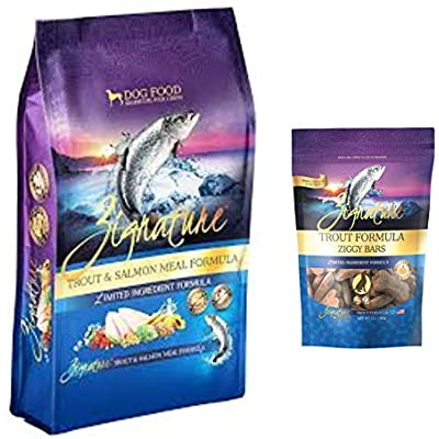 Zignature Trout & Salmon Dog Food 4 Pound Bag & Trout (New) Ziggy Dog Treat Bars 12 Ounce Bag