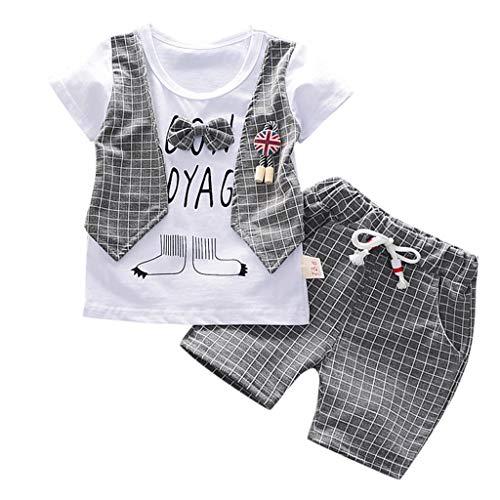 FEITONG Baby Gifts, Toddler Baby Boys Gentleman Bow T-Shirt Tops Shorts Pants Outfits Clothes Set Gray