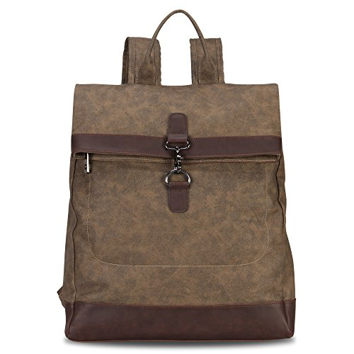 Top Bag Light (Hynes Eagle Stylish Roll Top Canvas Backpack Lightweight Travel Bag Matte Finish Brown)