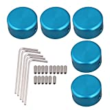BQLZR Blue Aluminum Alloy Guitar Effects Parts Stomp Switch Pedal Box Foot Metal Pack of 5