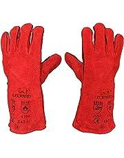 Lashandschoenen, lang, van leer, hittebestendig en gevoerd, MIG ARC welders/lasser