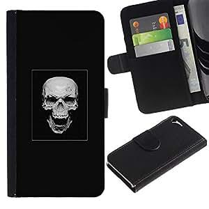 NEECELL GIFT forCITY // Billetera de cuero Caso Cubierta de protección Carcasa / Leather Wallet Case for Apple Iphone 5 / 5S // Cráneo malvado de la risa