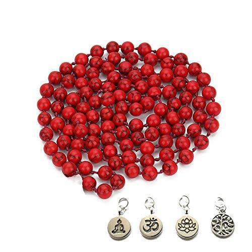 BALIBALI 8MM 108 Mala Beads Necklace Semi-Precious Gem Stones Tibet Tibetan Mala Meditation Necklace 108 Hand Knotted Japa Yoga Beaded ()