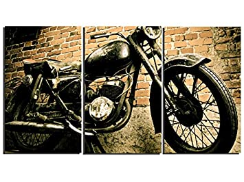 Bon 3 Pieces Vintage Motorcycle Wall Art Canvas Picture Print For Decoration,  Stretched And Ready To