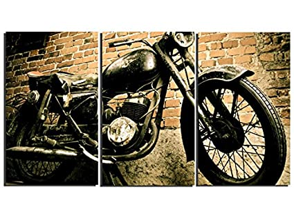 Metal Motorcycle Wall Art.3 Pieces Vintage Motorcycle Wall Art Canvas Picture Print For Decoration Stretched And Ready To Hang