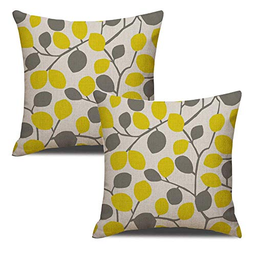 MELOODY Throw Pillow Covers Set of 2 Cotton Line Soft Yellow Gray Leaf Living Room Couch Sofa Home Decorative Square Pillow Case Covers 18x18 Inch (Gray Pillows And Yellow)