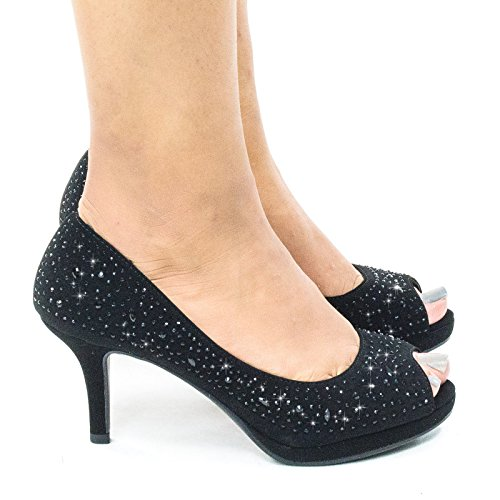 Heel Dress Frank Glitter High Foam 9 Comfort Peep Pump Toe Soft Rhinestones Black vvOwqzp