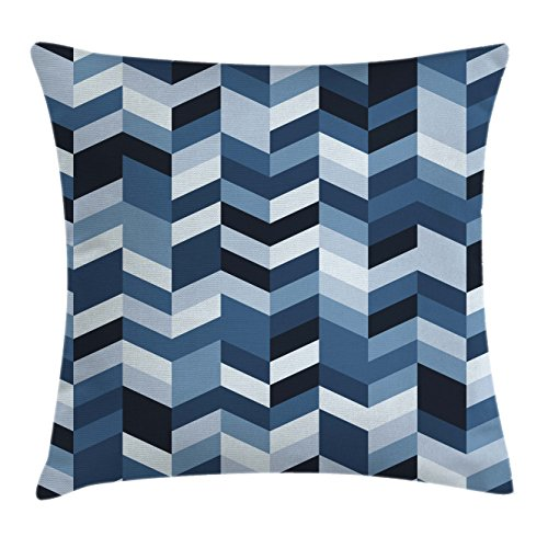 - Ambesonne Navy Throw Pillow Cushion Cover, Soft Pastel Toned Modern Herringbone Pattern with Zigzag Twisty Stripes Image, Decorative Square Accent Pillow Case, 16 X 16 Inches, Dark and Slate Blue
