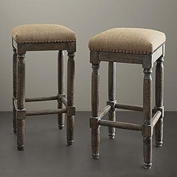 Amazon Com Renate Linen Bar Stools Set Of 2 Seat High