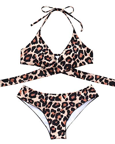 MOSHENGQI Women Front Cross Halter Push up Bikini Floral Bottom 2 Piece Cute Swimsuits (M(US 4-6),Leopard77)