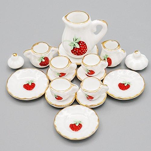 Gold Chintz (Odoria 1:12 Miniature 15PCS Porcelain Tea Cup Set Strawberry Chintz and Golden Trim Dollhouse Kitchen Accessories)