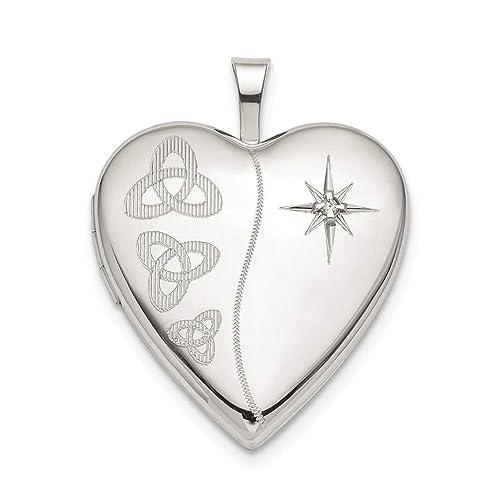 Lex /& Lu Sterling Silver Polished Heart Cross