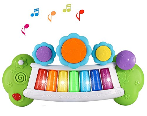Liberty Imports Magic Rainbow Light Up Electronic Musical Piano with Drums for Children