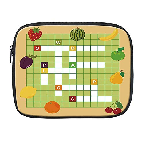 Word Search Puzzle Compatible with Nice iPad Bag,Vivid Graphic Summer Fruits with Educational Crossword Game for Kids Decorative for Office,One Size