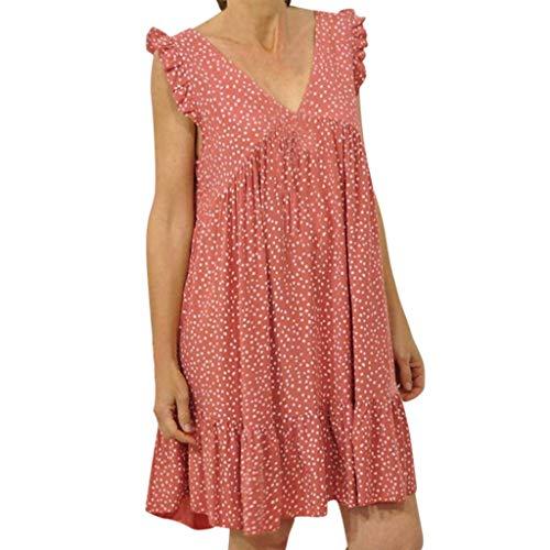 Cenglings Women Sexy V Neck Sleeveless Polka Dot Print Ruffle Sleeve Mini Dress Loose Plus Size Ruffle Party Beach Dress Pink