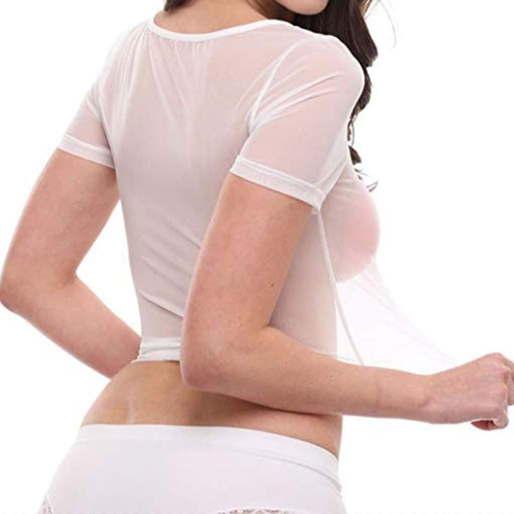 Womens Sheer Mesh See-Through Short Sleeve Crop Tops Casual T Shirt Vedolay Lingerie for Women for Sex