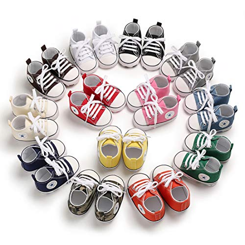 Tutoo Unisex Baby Boys Girls Star High Top Sneaker Soft Anti-Slip Sole Newborn Infant First Walkers Canvas Denim Shoes -