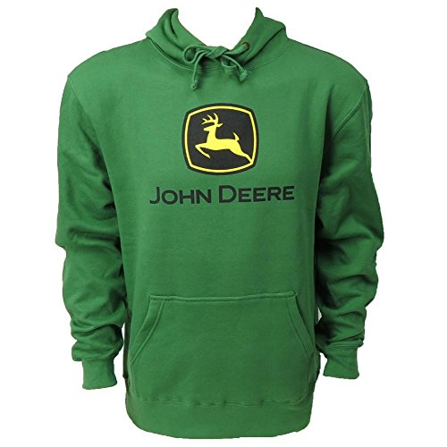 John Deere Men's Trademark Logo Core Hood Pullover Fleece, Green, Large from John Deere
